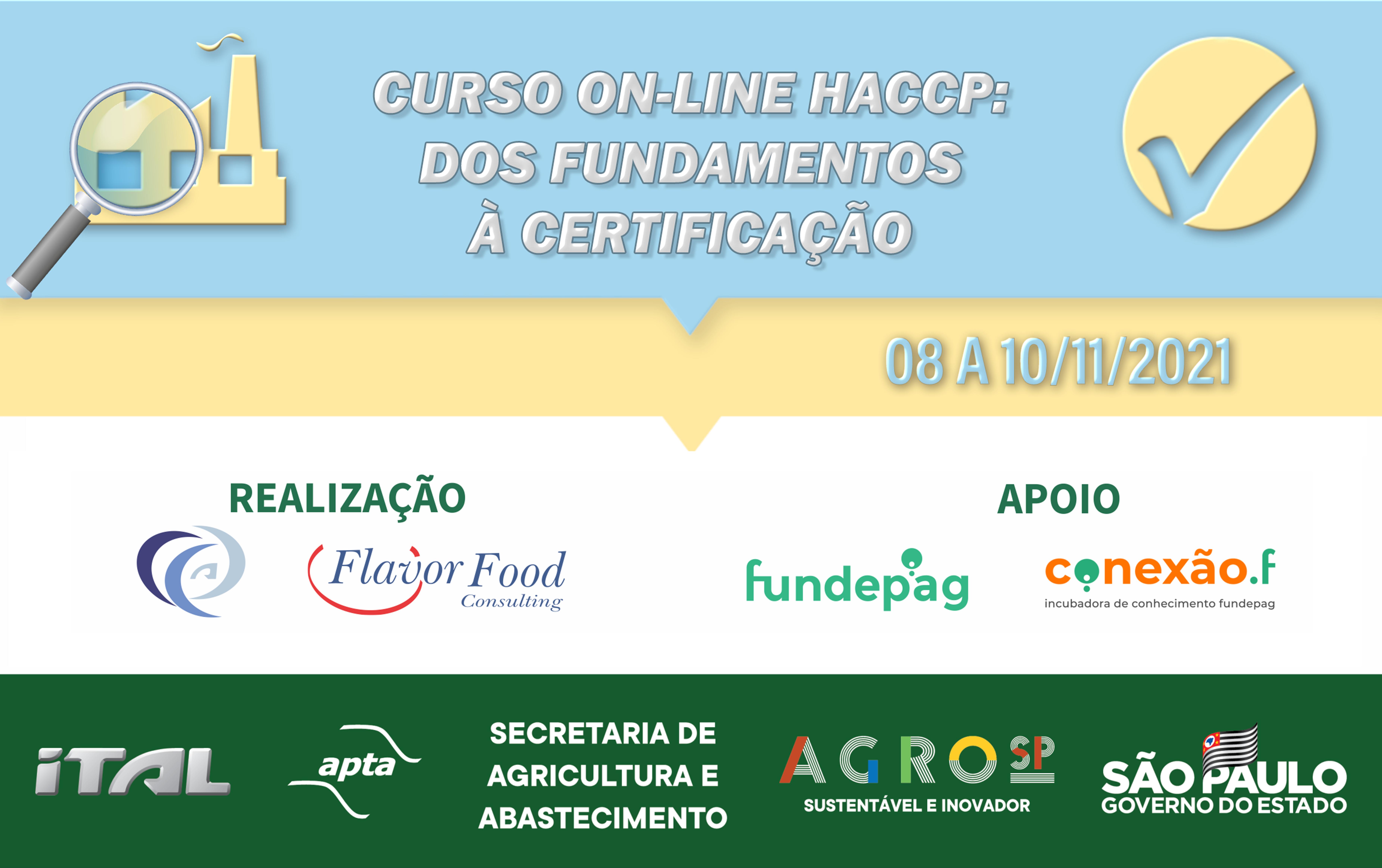 CURSO ON-LINE HACCP: DOS FUNDAMENTOS À CERTIFICAÇÃO